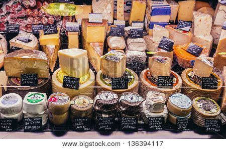 Barcelona Spain - May 28 2015. Cheese stand at market called La Boqueria foremost tourist landmarks in Barcelona