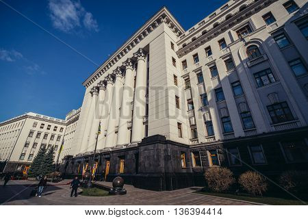 Kiev Ukraine - April 8 2015. View of main facade of Administration of the President of Ukraine building in Kiev