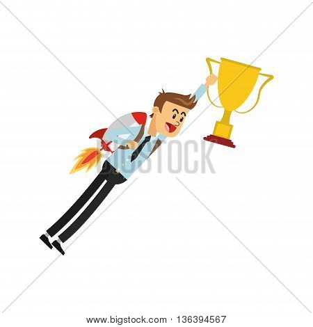 simple flat design flying businessman with jetpack holding trophy cup icon vector illustration