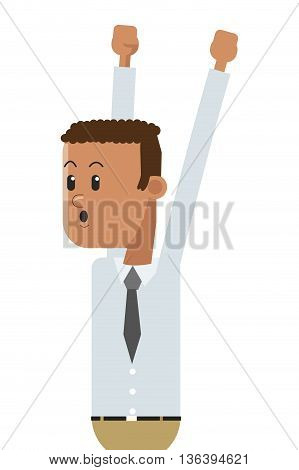 flat design goofy businessman celebrating icon vector illustration