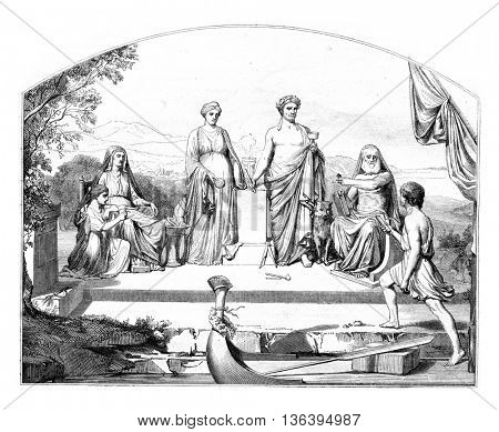 Drawings Show 1852, Human Life, vintage engraved illustration. Magasin Pittoresque 1852.