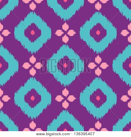 Ikat geometric seamless pattern. Pink and violet color collection. Indonesian textile fabric tie-dye technique inspiration. Rhombus and drop shapes.