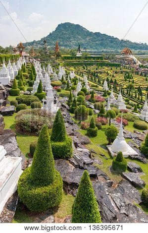 Nong Nooch Tropical Garden in Pattaya Thailand. Landscape view of formal garden.