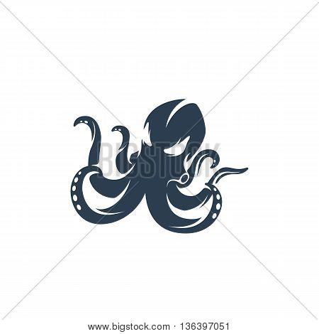 Octopus logo on white background. Octopus logo template. Vector illustration - stock vector