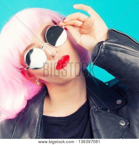 Beautiful Woman Wearing Pink Wig
