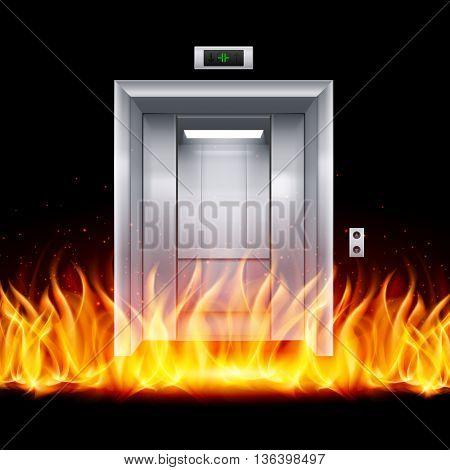 Half Open Chrome Metal Elevator Door in Fire