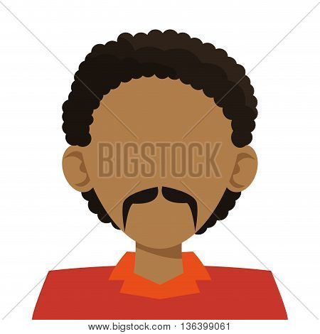 simple flat desing head of dark skin man with curly hair and mustache icon vector illustration