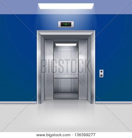 Realistic Empty Elevator with Half Open Door in Blue Lobby