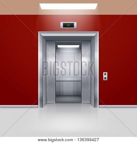 Realistic Empty Elevator with Half Open Door in Red Lobby