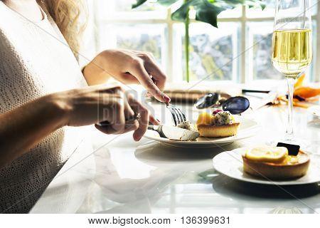 Woman Eating Dessert Concept