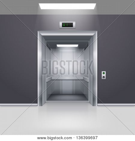 Realistic Empty Modern Elevator with Open Door in Hall