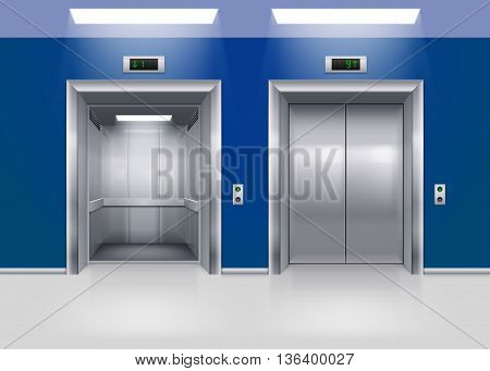 Open and Closed Modern Metal Elevator Doors. Hall Interior in Blue Colors