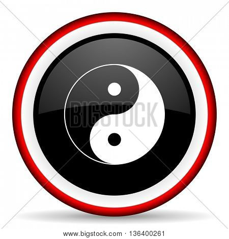 ying yang round glossy icon, modern design web element