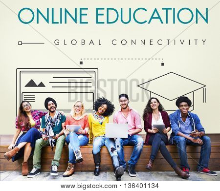Online Education Global Connectivity Graphic Concept