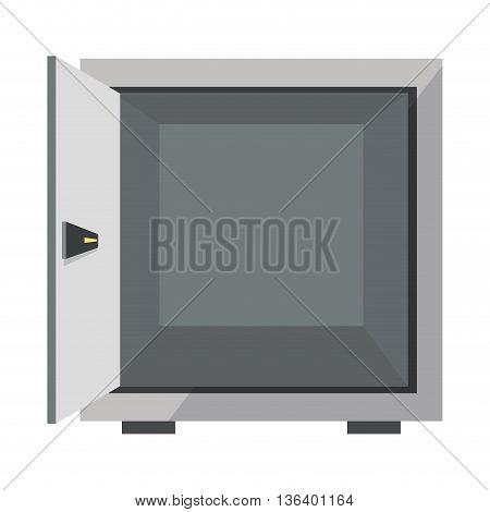 simple flat design open safe box icon vector illustration