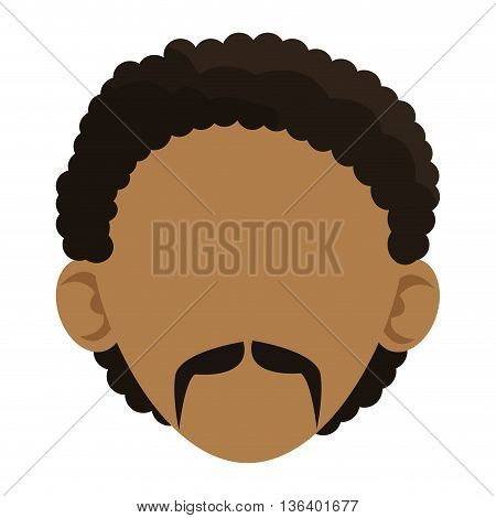 simple flat design head of dark skin man with curly hair and mustache icon vector illustration