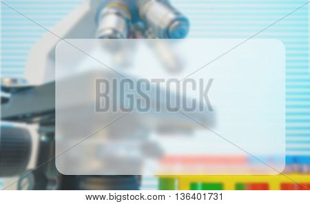 Microscope  and test tubes in laboratory, Blue toned image, Banner Blank Board Message Copy-space Concept
