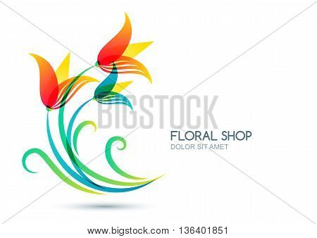 Vector Isolated Illustration Of Colorful Lily Flowers. Logo, Label, Icon Design Elements. Concept Fo