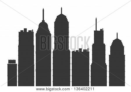 grey simple flat design modern city skyline vector illustration