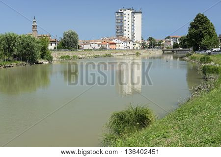 Adria, Italy - June, 29, 2016: embankment of Canalbianko chanel in a center of Adria, Italy
