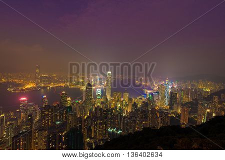 Hong Kong China: 23 OCT 2015 Hongkong Cityscape View from the Victoria peak on October 23 2015 Hong Kong China