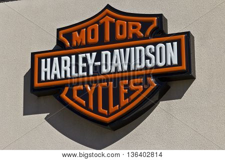 Indianapolis - Circa June 2016: Harley-Davidson Local Signage. Harley Davidson's Motorcycles are Known for Their Loyal Following