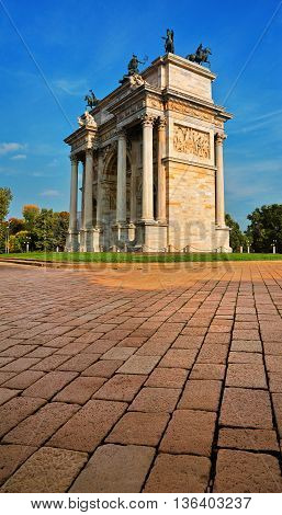 Peace Arch or Gate Sempione in Milan, Italy