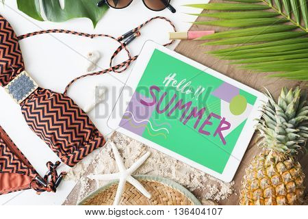 Summer Beach Bikini Sand Sunglasses Concept