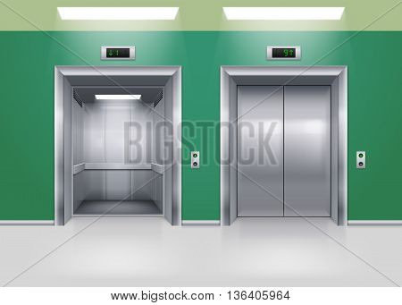Open and Closed Modern Metal Elevator Doors. Hall Interior in Green Colors