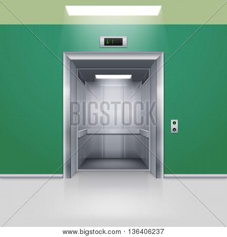 Realistic Empty Modern Elevator with Open Door in Green Hall