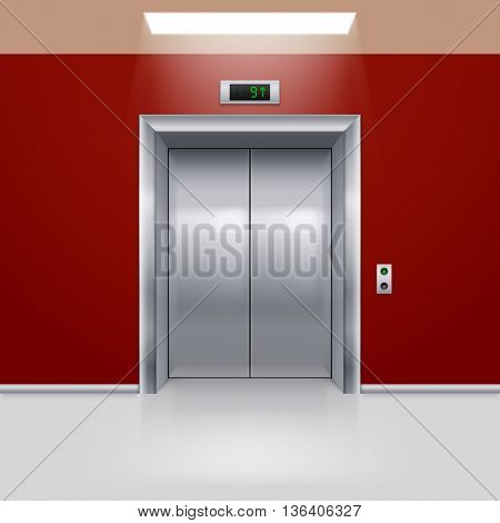 Realistic Metal Modern Elevator with Closed Door in Red Hall