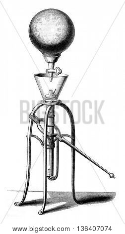 First pneumatic machine running regularly, vintage engraved illustration. Magasin Pittoresque 1852.