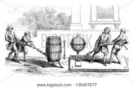 Otto von Guericke was trying to empty a barrel. Second container employed by Otto von Guericke to evacuate, vintage engraved illustration. Magasin Pittoresque 1852.
