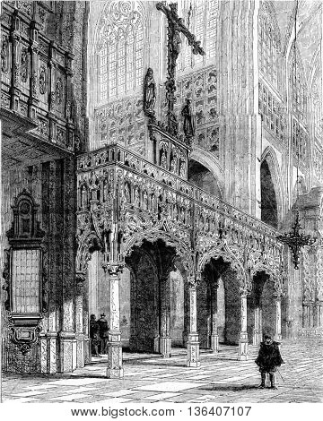 The Saint Peter's Church in Leuven, vintage engraved illustration. Magasin Pittoresque 1852.