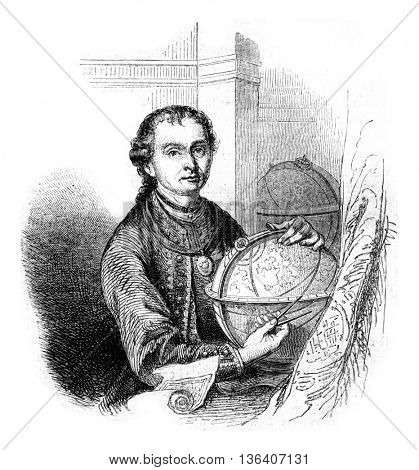 Peter Anich, Tyrolean peasant became astronomer, vintage engraved illustration. Magasin Pittoresque 1852.