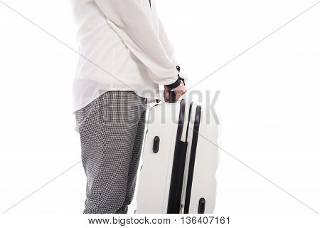 Asian woman holding white suitcase on white background isolated