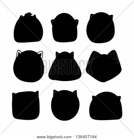 Cats silhouette. Doodle silhouettes of cats. Muzzle cats. Silhouette of a template for the design and insertion of calligraphic text