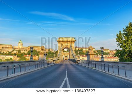 Budapest Chain Bridge in the morning, Hungary