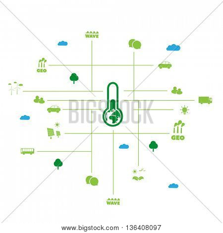Global Warming, Eco Friendly World - Connections, Networks - Design Concept with Icons