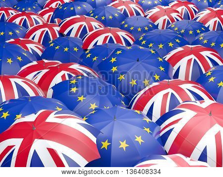 Flags Of European Union And United Kingdom. Brexit Concept