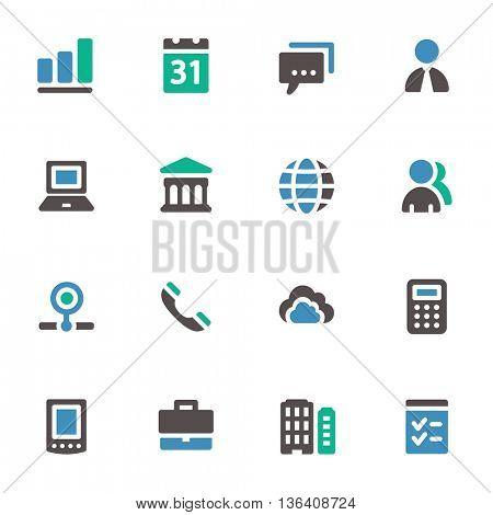 Business web icons set. Mobile screen symbols.