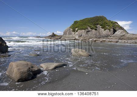 The scenic Abby Island on Ruby Beach along the Pacific Coast in Washington state.