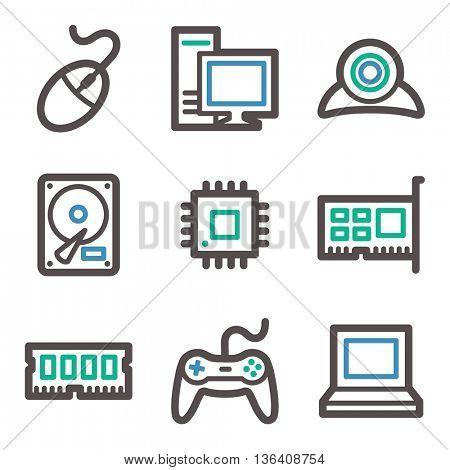 Computer web icons, laptop and desktop, gamepad and camera