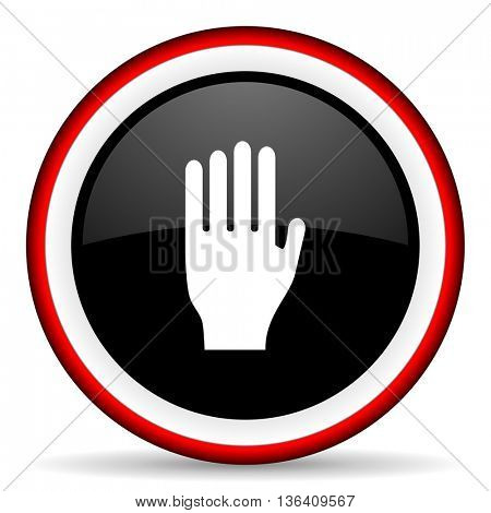 stop round glossy icon, modern design web element