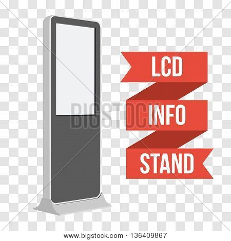 LCD TV Info Floor Stand. Blank Trade Show Booth. Vector illustration of kiosk machine on transparent background. Ad template for your expo design with ribbon banner text.