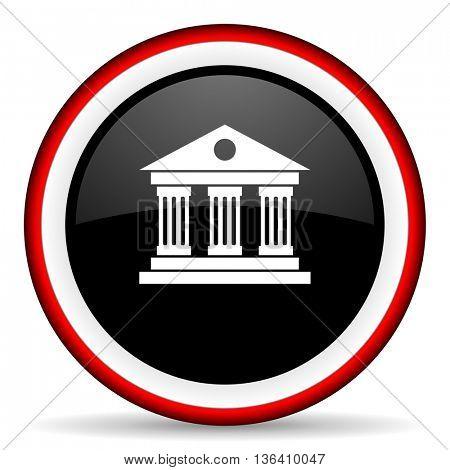 museum round glossy icon, modern design web element