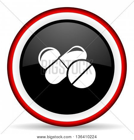 medicine round glossy icon, modern design web element