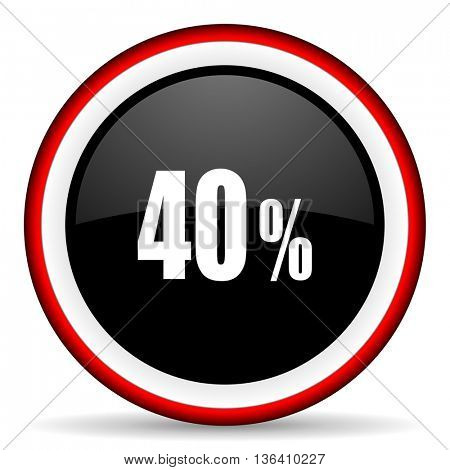 40 percent round glossy icon, modern design web element