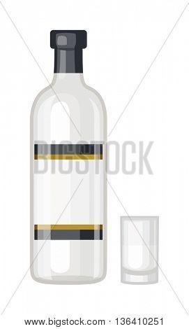 Vodka bottle vector illustration.