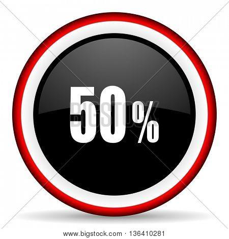 50 percent round glossy icon, modern design web element